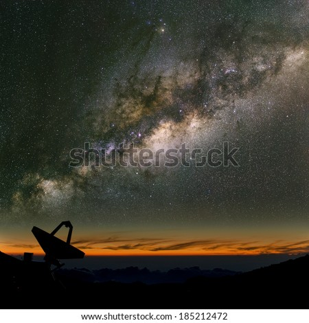 Radio telescope under the Milky Way. The search for intelligent life.  - stock photo