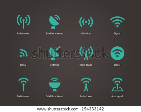 Radio Tower icons. Wireless technology. See also vector version. - stock photo