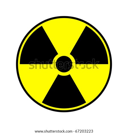 Radioactive round sign isolated on white - stock photo