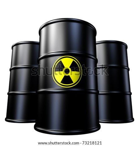 Radioactive waste containers symbol represented by toxic industrial garbage in metal drums from a nuclear reactor that produces radiation. - stock photo
