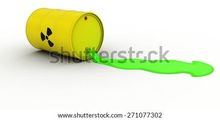Radioactive Waste Leaking Out of Barrel - stock photo