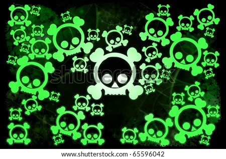 Radioactivity skull background
