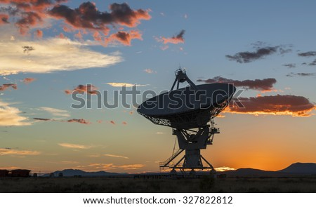 Radiotelescopes at the Very Large Array, the National Radio Observatory in New Mexico at sunset