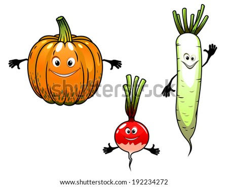 Radish, turnip and pumpkin vegetables with smiles in cartoon mascot style for bio food design. Vector version also available in gallery - stock photo