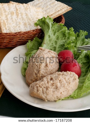 Radishes and gefilte fish for jewish holiday - stock photo