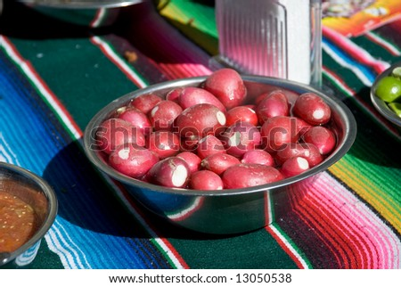Radishes in a Bowl at Taco Stand