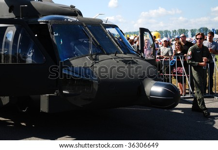 RADOM POLAND - AUG. 31: Blackhawk s-70. International Air Demonstrations AIR SHOW 2009. August 31, 2009 in Radom, Poland.