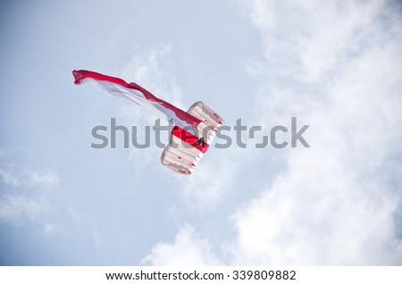 RADOM, POLAND - AUGUST 23, 2015: Parachutist with polish flag. Airshow event on 23 August 2015, Radom, Poland  - stock photo