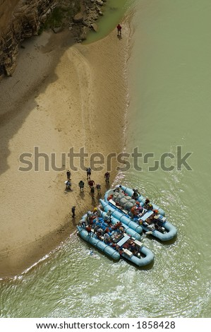 Raft trip stops for lunch on the Colorado River - stock photo