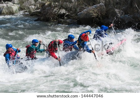 Rafting, extreme, team, sport, fun, active, relax,splashing the white water. - stock photo