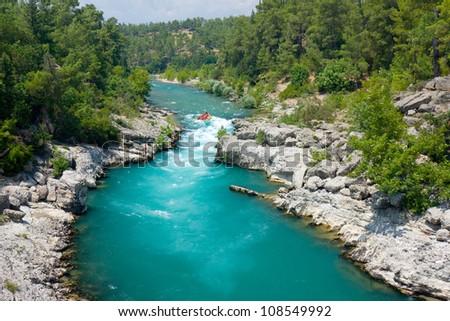 rafting in the green canyon, Alanya, Turkey - stock photo
