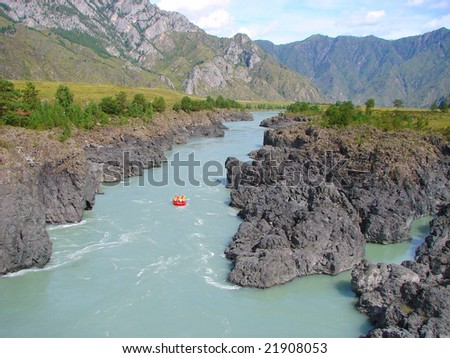 rafting on the river - stock photo
