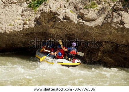 Rafting on the Verdon in Southern France. Navigation under rock during the rapid descent