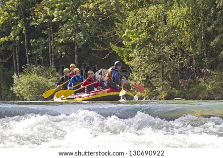 Rafting - popular adventure sport - stock photo