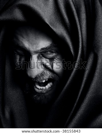 Rage of angry evil spooky man - stock photo