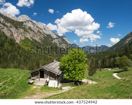 Ragert-Alm mountain pasture with Reiter Alpe mountains, Klausbachtal, Berchtesgaden National Park, Bavaria, Germany
