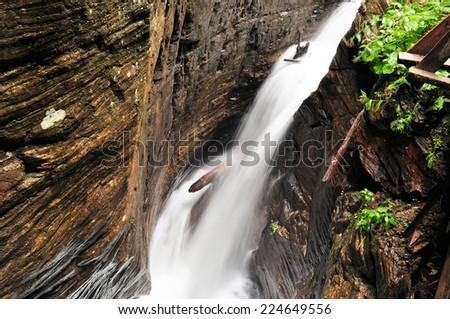 Raggaschlucht slot canyon in Austrian alps - stock photo