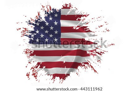 Ragged American Flag on the white background - isolated - stock photo