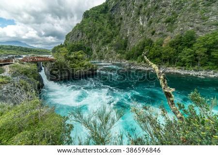 Raging River Rapids near Puerto Varas Chili, Patagonia Region.  South America - stock photo