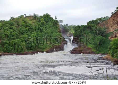 raging torrent at the Murchison Falls in Uganda (Africa) - stock photo