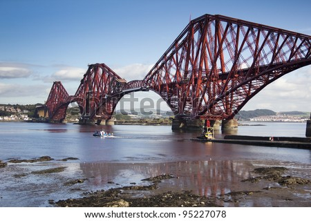 Rail bridge crossing the firth of forth in Lothian, Scotland. Taken from South Queensferry.