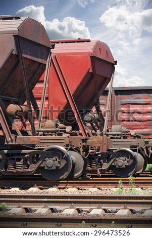 Rail cars parked at the station - stock photo