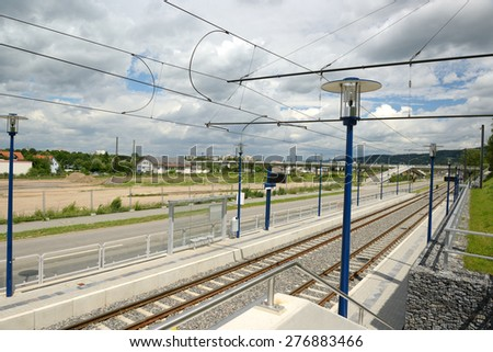 rail facilities in the city - stock photo