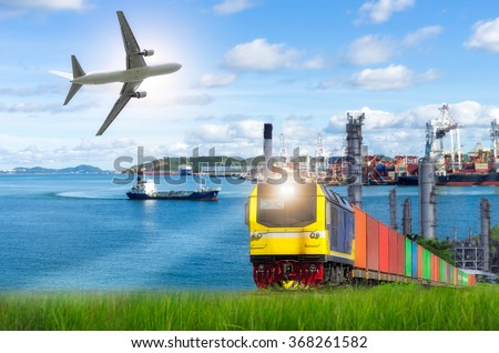 Rail freight, containers, against a backdrop of the Port and commercial aircraft, transport concepts. - stock photo