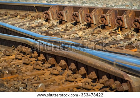 Rail switches in yard off main line traffic - stock photo