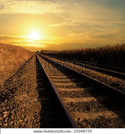 Rail track going into infinity - stock photo