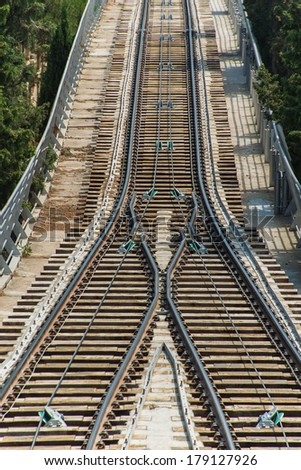 Rail tracks in bright summer day - stock photo