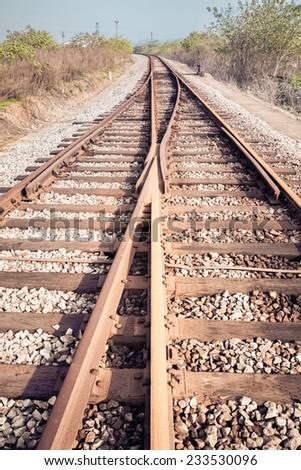 rail tracks junction , line of railway crossing  - stock photo