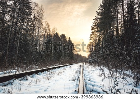 Rail tracks with snow and trees - stock photo