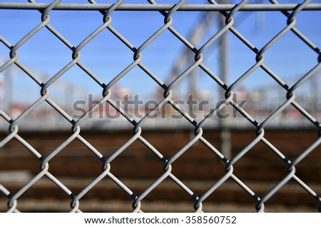 rail yard security fence - stock photo