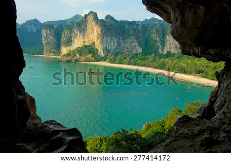 Railay Bay, beach and boats - view from the bird's-eye view in Krabi, Thailand - stock photo