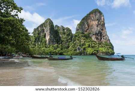 Railay Beach close to Krabi in the southern part of Thailand - stock photo