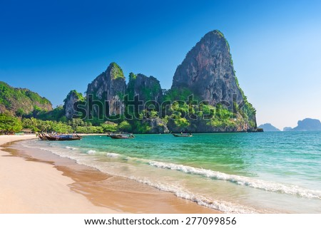 Railay beach in Krabi Thailand. Asia - stock photo