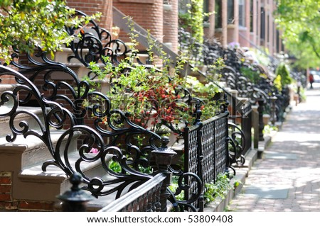 Railing, Victorian style, in Boston South End - stock photo