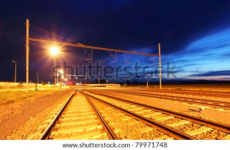 Railroad at dusk - stock photo