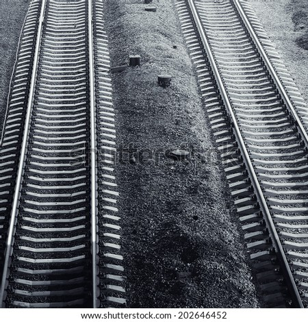 railroad at night ,black and white - stock photo