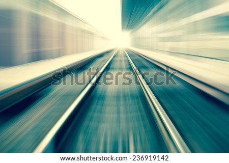 railroad blurred with zoom - stock photo
