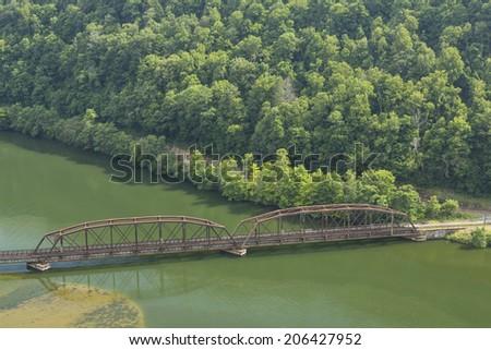 Railroad Bridge On New River - stock photo