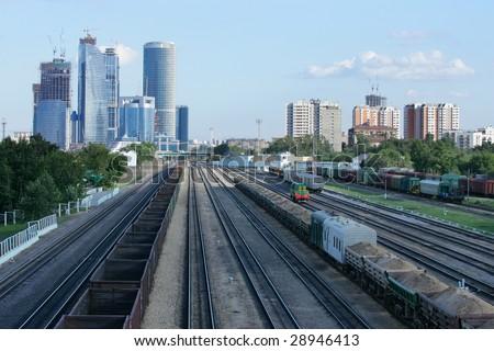 railroad cities - stock photo