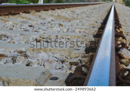 Railroad close up view. Transportation and communications - stock photo