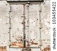 railroad container doors with rusty and gray color and rusty. - stock photo