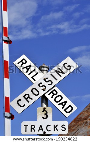 Railroad Crossing Sign Vertical With Copy Space  - stock photo