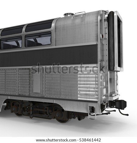Railroad Double Deck Lounge Car on white. 3D illustration