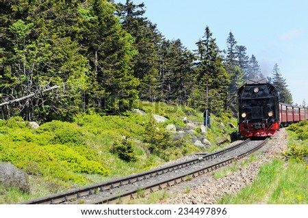 Railroad leading to peak of Brocken Mountain at Saxony-Anhalt (Germany).  - stock photo
