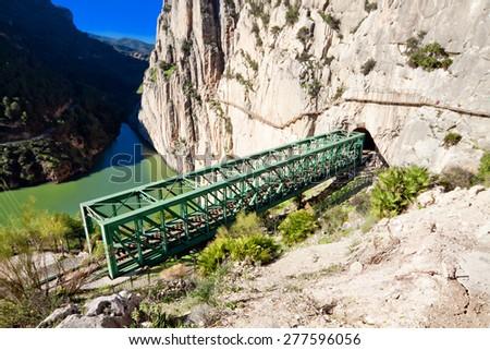 Railroad near Royal Trail (El Caminito del Rey) in gorge Chorro, Malaga province, Spain - stock photo