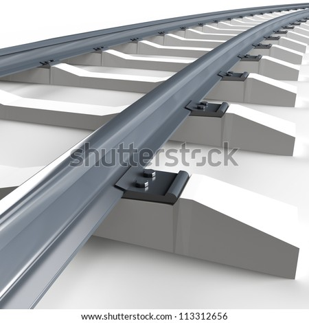 Railroad on white background. 3d render illustration - stock photo